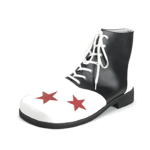Silly Black and White MENS SIZING Clown Shoe with Large Red Stars