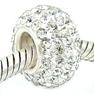 Sterling Silver Swarovski Crystal Bead Charm by Pro Jewelry
