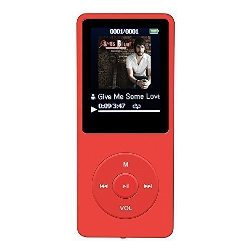 """AGPTek A02 IL lettore MP3 8 GB schermo 1,8"""" con Radio e registratore, Il tempo di riproduzione è fino a 70 ore,Rosso"""