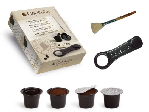 Capsul'in Capsules with Cleaning Brush - Fillable Nespresso Tea Coffee Compatible Pod (100)
