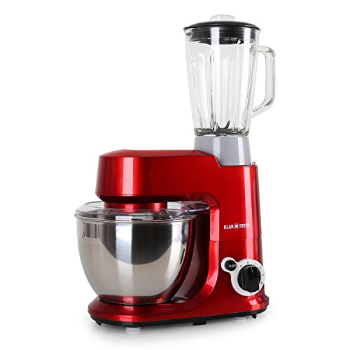 Klarstein-Carina-Rossa-Set-Robot-de-cuisine-avec-mixeur-blender-robot-patissier-multifonction-800W-avec-bol-inox-de-4L-accessoires-pour-ptrir-mlanger-fouetter-6-vitesses-rouge