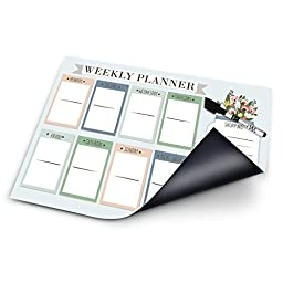 Board Wx Magnetic Weekly Planner for Fridge At a Glance Family Calendar with Dry Erase Marker 17 x 12 Inches