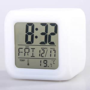 Neewer Glowing LED Change 7 Color Digital Alarm Clock and Temp