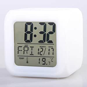 Neewer Glowing LED Change 7 Color Digital Alarm Clock and Temp