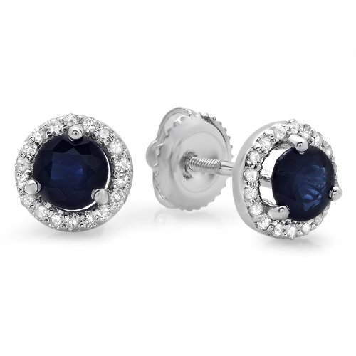 14K-White-Gold-Round-Blue-Sapphire-White-Diamond-Ladies-Halo-Style-Stud-Earrings-1-CT