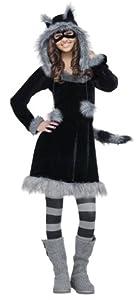 Fun World Costumes Women's Sweet Raccoon Teen Costume, Black,Junior (0/9)