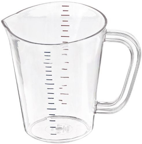 """Carlisle 4314307 Polycarbonate Measuring Cup, 1 qt. Capacity, 5.75 x 6.31 x 5.31"""", Clear (Case of 6)"""