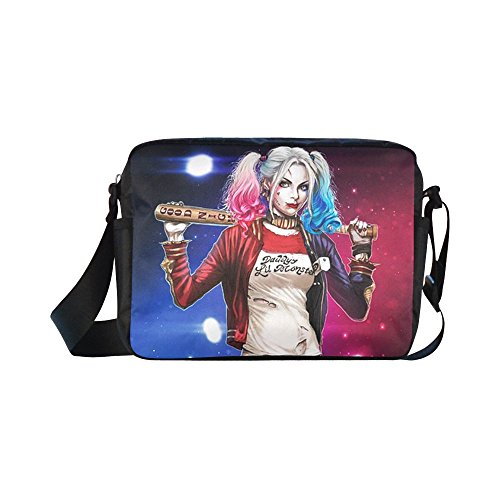 DOROT Suicide Squad Joker And Harley Quinn Unisex Nylon Waterproof Material Black Cross-body Nylon Bags Shoulder Bag
