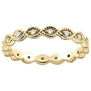10K Yellow Gold Oval Eternity Diamond Engagement Ring 1/8 inch inch wide, size 6