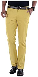 S9 Men's Slim Fit Casual Trousers (S9-M-CHINO-1_32, Yellow, 32)