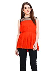 Black Mesh Orange Pleated Peplum Top Large