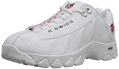 K-Swiss Women's ST329 Cross-Training Shoe,White/Black/Pink,5 M US