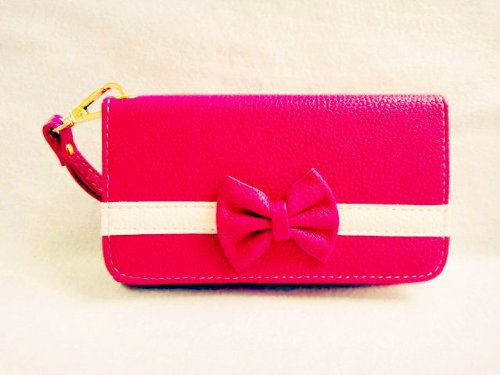 Bowknot Bow Girl Cute lovely Leather Wallet Purse Flip Smart-Phone Wristlet Clutch Leather Wallet Case Cover for Alcatel SAMSUNG GALAXY LG ZTE Nokia Asus Mobile Cell Phone (Samsung Galaxy Ace 4 Lite G313/Ace NXT SM-G313H, rose(dark pink)) (Samsung Ace 4 Lite G313 compare prices)