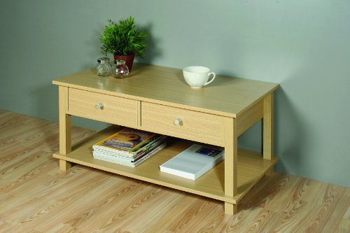 Oak Effect Coffee Table With 2 Drawer Storage And Shelf