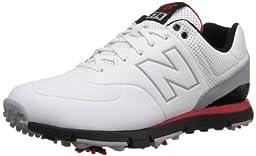 New Balance Men\'s NBG574 Golf Shoe,White/Red,8.5 D US