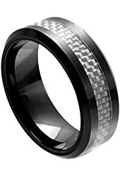 Ceramic Ring with Light Gray Carbon Fiber Inlay 8mm