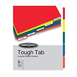 Wilson Jones Tough Tab Durable Poly Indexes, Letter Size, 5 Tabs, Multi-Color (W53240A)