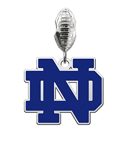 Notre Dame Fighting Irish Silver Football Color Dangle Fits All European Style Charm Bracelets
