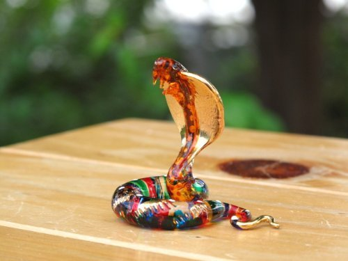 Handmade Snake Art Glass Blown Wild / Reptiles Animal Figurine - No.1