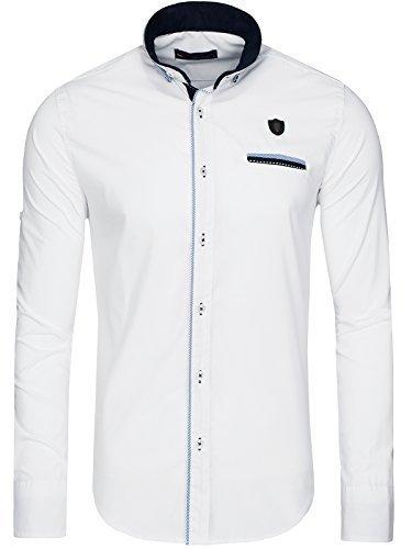 OZONEE Herren Klassisch Hemd Freizeithemd Langarm Shirt Casual Slim Fit RAW LUCCI 526-10 WEIß M