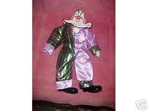 Cloth Clown Doll with Porcelain Head, Hands & Feet
