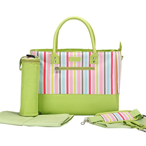 Damai Strips Diaper Tote Bag With Bottle Bag And Changing Pad (Light Green) front-992316