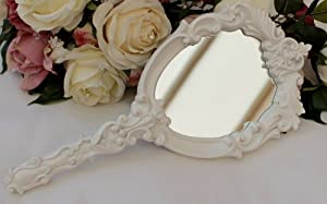 Vintage Style White Carved Oval Hand Mirror ~ Shabby Chic!