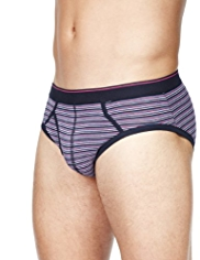 4 Pack Cool & Fresh™ Stretch Cotton Tonal Striped Briefs with StayNEW™