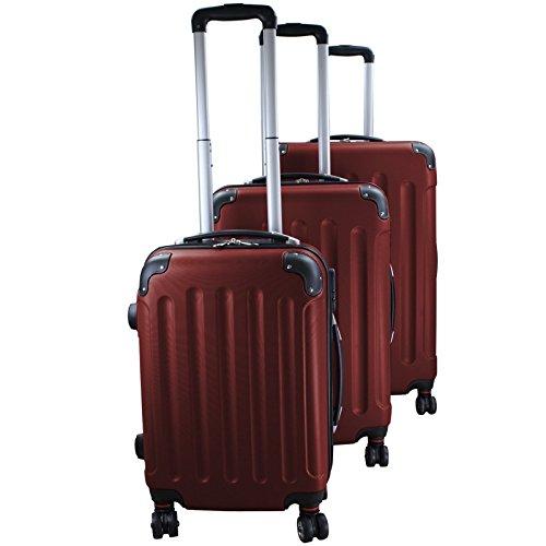 Set di 3 valigie rigidi trolley da viaggio Experience 2.0 360° ruote doppie di BB Sport Set di 3 valigie rigidi trolley da viaggio Experience 2.0 360° ruote doppie, Colore:mahogany brown