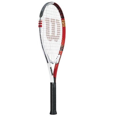 Wilson Federer Strung Adult Recreational Tennis Racket (Red/White, 4 1/2)