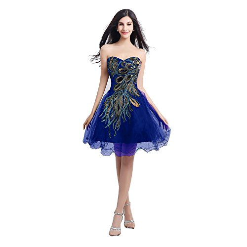 KAY&LAYLA Embroider Peacock Gown Holiday Short Gown for Juniors 2015