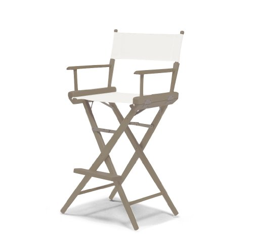 Telescope Casual World Famous Bar Height Director Chair, Rustic Grey With White Canvas Fabric