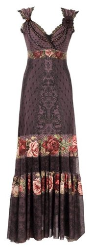 Conspicuous Special Occasion Full-Length Dress Created by Michal Negrin with Victorian Roses Pattern, Swarovski Crystals, Lace Trim and Crinkled Hemline - Size L