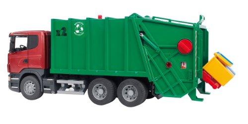 Bruder Spielwaren 03561 - Scania R-Serie Müll-LKW, rot/grün