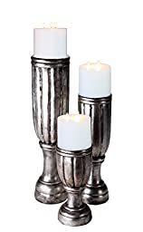 Piala Large Silvered Candleholders - Set of 3