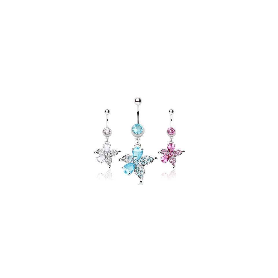316L Surgical Stainless Steel Belly Button Ring Barbell with Hawaiian Flower Shaped Dangle with Pink CZs   14G (1.6mm)   3/8 (10mm) Bar Length   Sold Individually