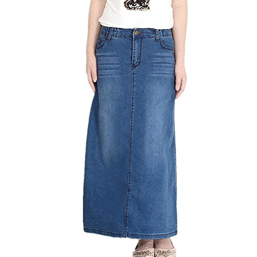 Friendshop Women Long Denim Jean Skirt