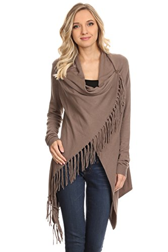 A+D Womens Knit Crossover Sweater Shawl w/ Fringe Accent (Walnut, Medium) (Knit Cowl Poncho compare prices)