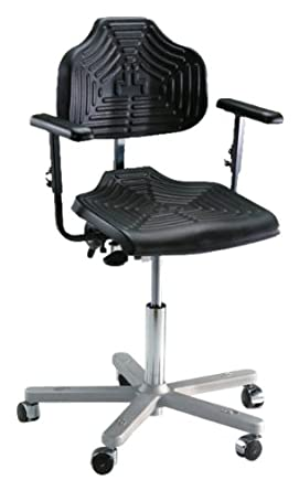 "Milagon Brio 12 Series WSP1220 Polyurethane Foam Seat on Cast Aluminum Star Base Chair with Self-Braking Casters, Low Profile, 17""-24"" Adjustment Height"