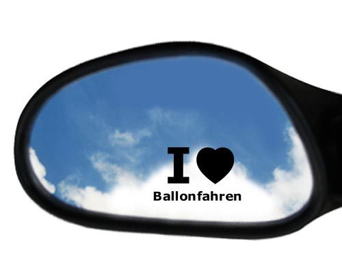 4 Aufkleber - SCHWARZ - I love Ballonfahren - Nummernschild, Spiegel, Handy Sticker