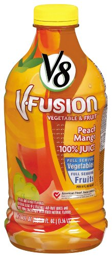 V8 V-Fusion Peach Mango 100% Juice, 46-Ounce Bottles (Pack Of 8) front-445019