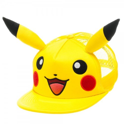 Pokemon Pikachu Big Face With Ears Yellow Trucker Hat [Bioworld]