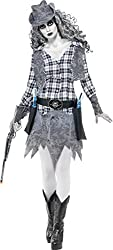 Smiffy's Women's Ghost Town Cowgirl Costume with Hat Waistcoat Belt and Dress, Grey, Large