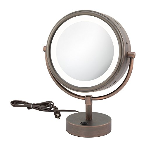 Kimball & Young 72515 Double-Sided Neo Modern Led Vanity Lighted Mirror, 1X And 5X Magnification, Italian Bronze front-905863