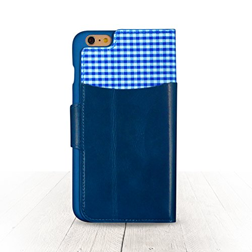 Genuine Leather Wallet Case for Apple iPhone 6s Plus & 6 Plus | Precision Engineered for Custom Fit | Inner Slots for Credit Cards & Outer Compartment for Cash & More | [Blue] by Exinoz