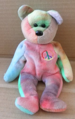 TY Beanie Babies Peace the Bear Stuffed Animal Plush Toy - 8 inches tall