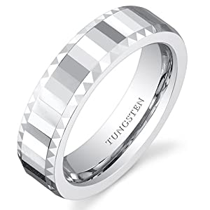 Revoni Faceted Mirror Finish 5mm Womens White Tungsten Wedding Band Ring Size L,