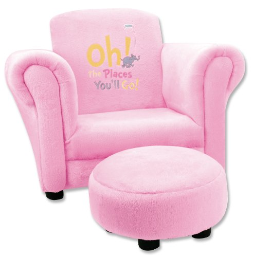 Trend Lab Dr. Seuss Oh, the Places You'll Go Velour Club Chair and Ottoman Set, Pink