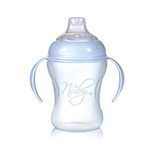 Nuby NT69000 - Bicchiere antigoccia Softflex  Natural Sipper  da 240 ml, beccuccio in morbido silicone, per bambini dai 6 mesi in su, colore: Blu