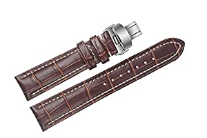 19mm Brown Luxury Italian Leather Replacement Watch Straps/Bands Handmade with White Stitching